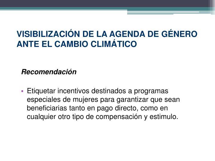 VISIBILIZACIÓN DE LA AGENDA DE GÉNERO ANTE EL CAMBIO CLIMÁTICO