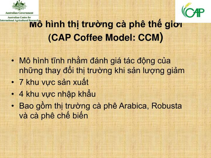 M h nh th tr ng c ph th gi i cap coffee model ccm
