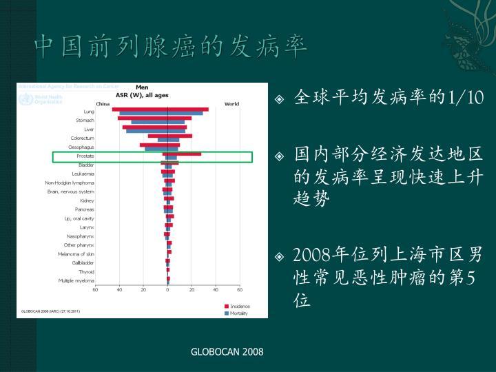 中国前列腺癌的发病率