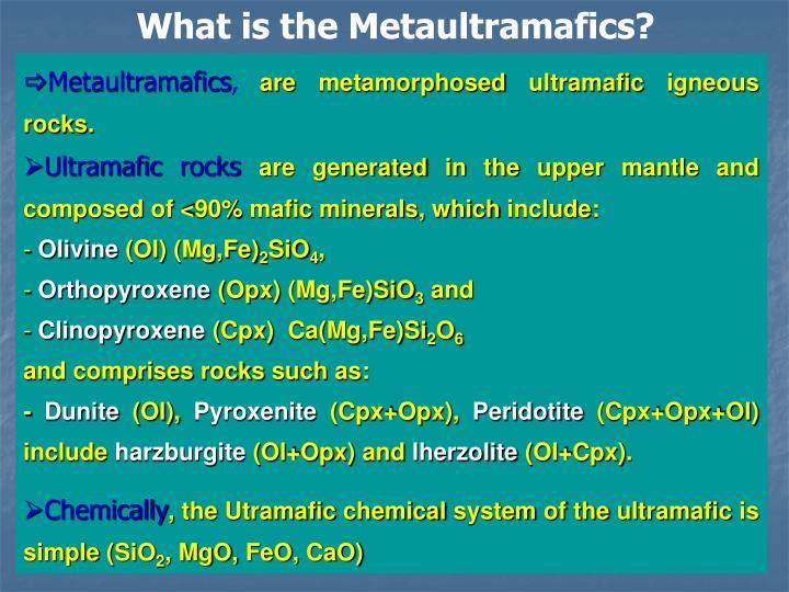 What is the Metaultramafics?