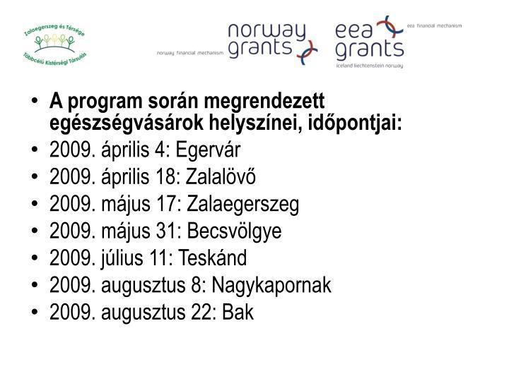 A program során megrendezett egészségvásárok helyszínei, időpontjai: