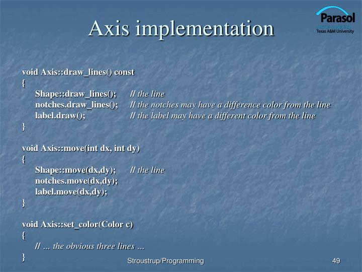 Axis implementation