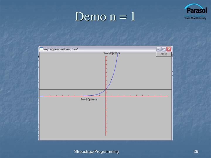 Demo n = 1