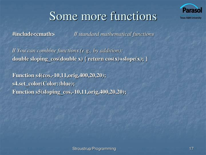 Some more functions