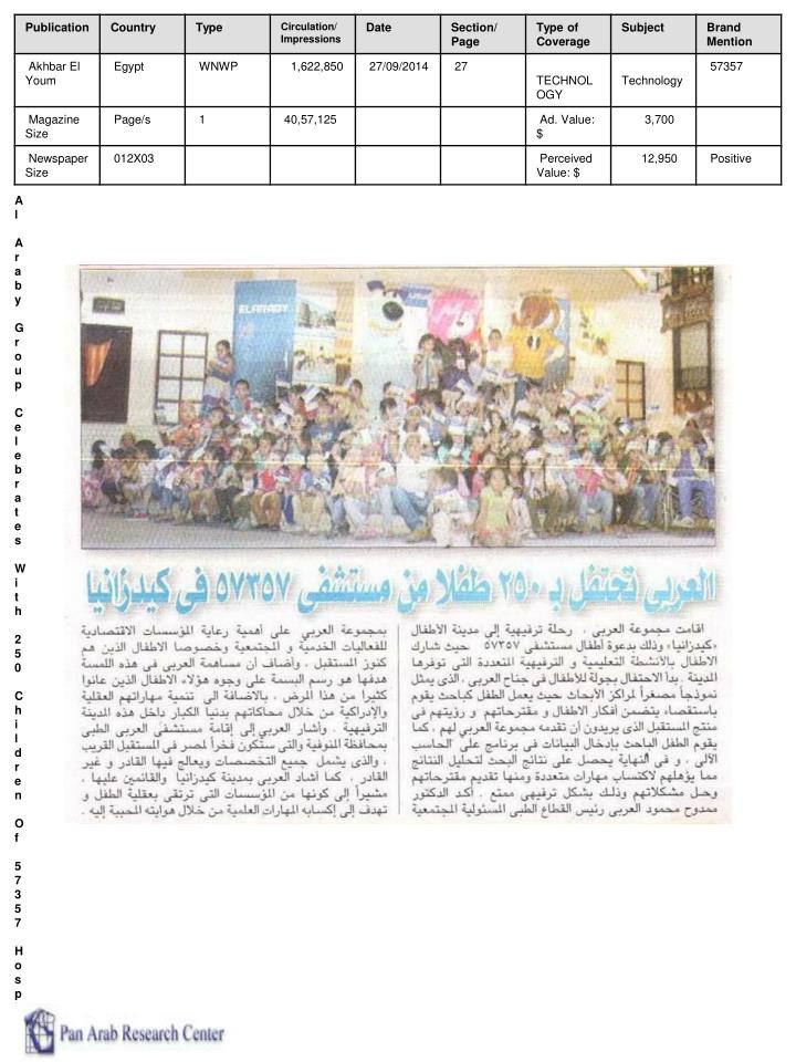 Al Araby Group Celebrates With 250 Children Of 57357 Hospital In Kidzania