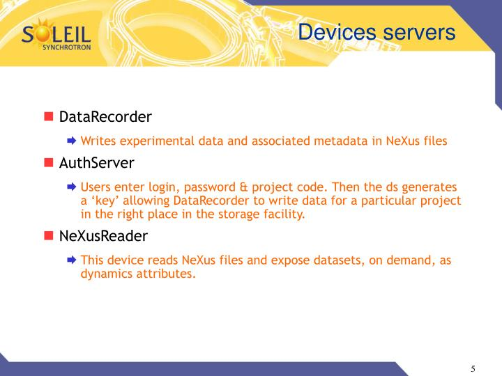 Devices servers