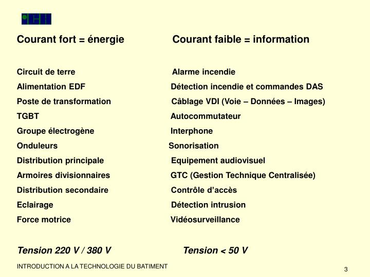 Courant fort = énergie                 Courant faible = information