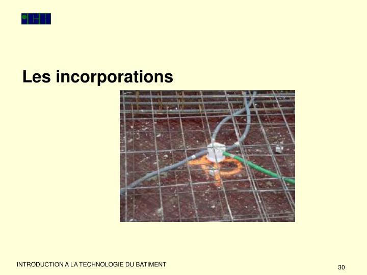 Les incorporations