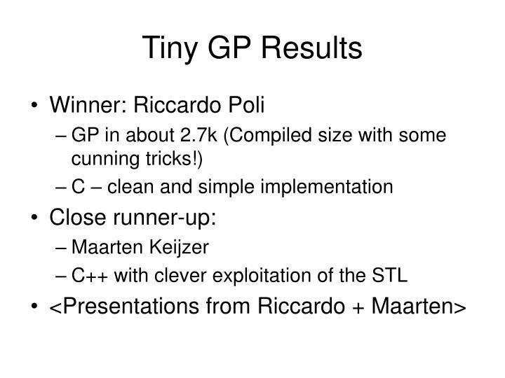 Tiny GP Results