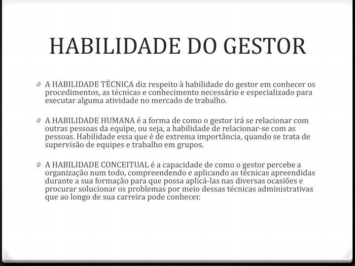 HABILIDADE DO GESTOR