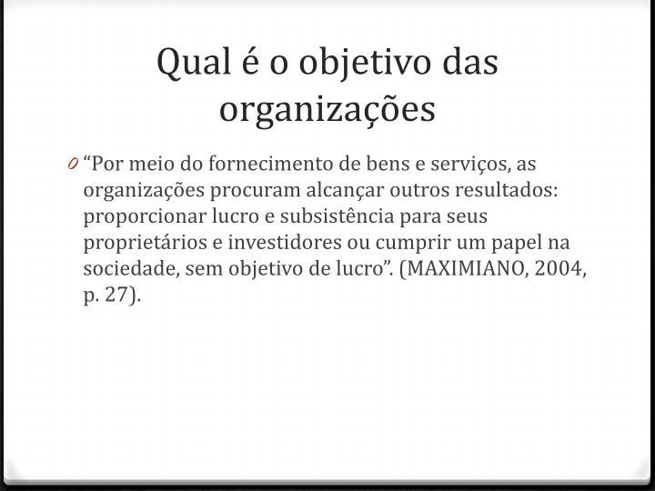 Qual é o objetivo das organizações