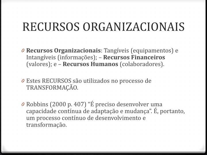 RECURSOS ORGANIZACIONAIS