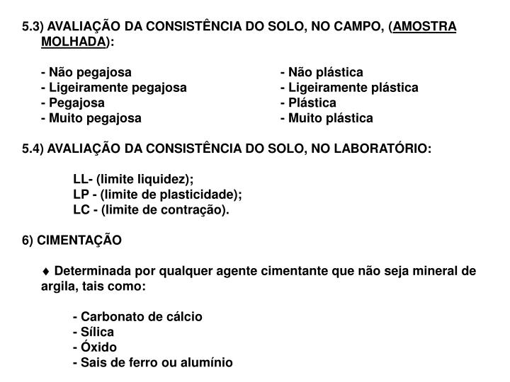 5.3) AVALIAÇÃO DA CONSISTÊNCIA DO SOLO, NO CAMPO, (