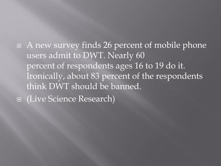 A new survey finds 26 percent of mobile phone users admit to DWT. Nearly 60 percent of respondents ages 16 to 19 do it. Ironically, about 83 percent of the respondents think DWT should be banned.