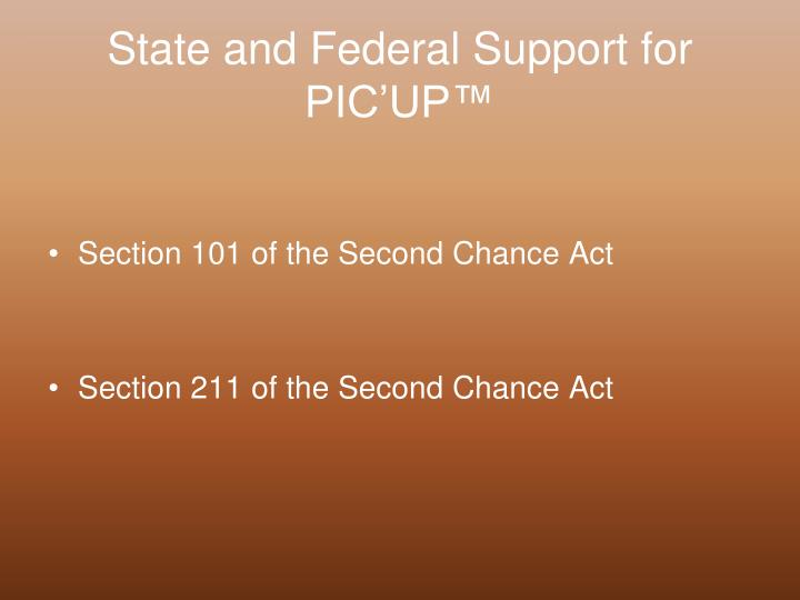 State and Federal Support for PIC'UP