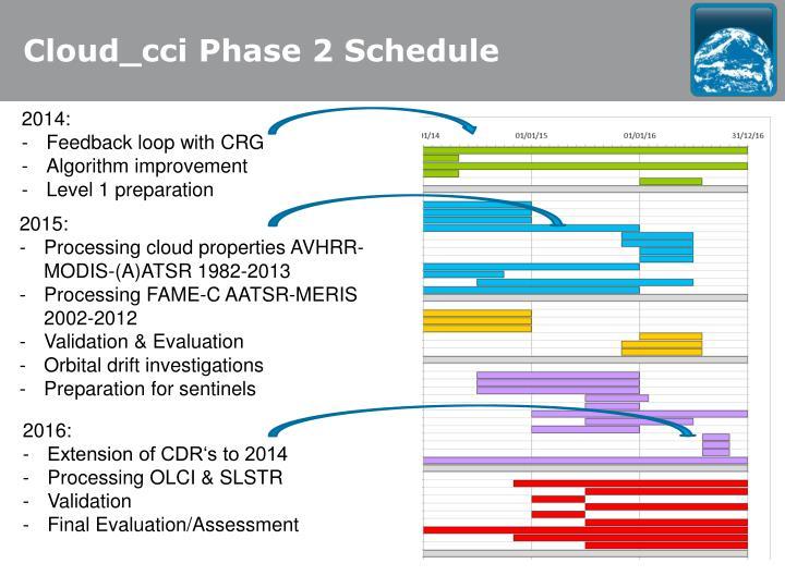 Cloud_cci Phase 2 Schedule
