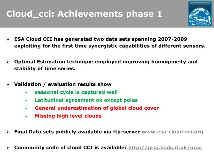 Cloud_cci: Achievements phase 1