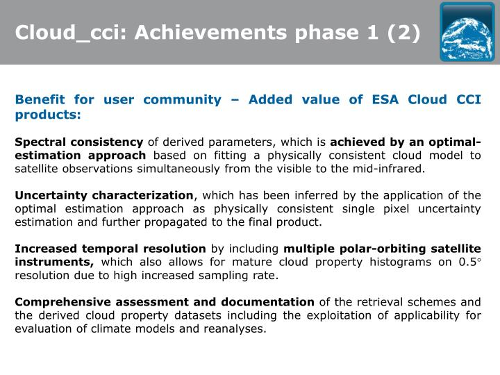 Cloud_cci: Achievements phase 1 (2)