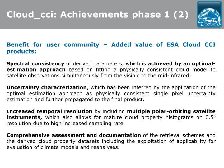 Cloud_cci: Achievements phase 1 (2)