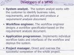 developers of a wfas