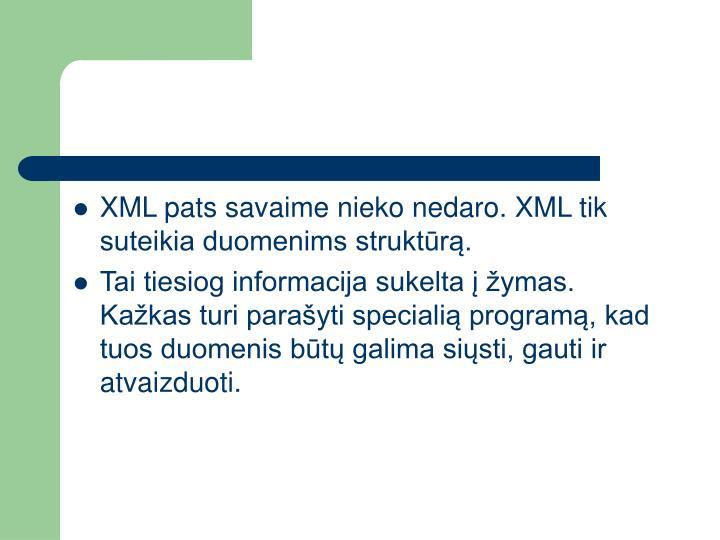 XML pats savaime nieko nedaro. XML tik suteikia duomenims struktūrą.