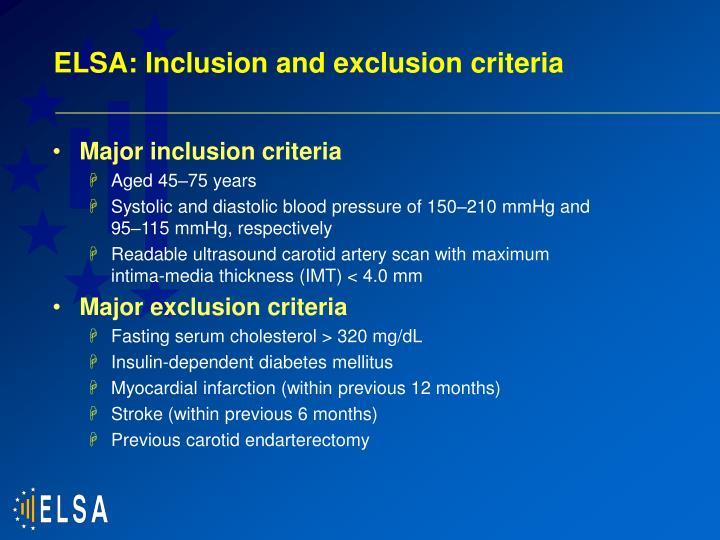ELSA: Inclusion and exclusion criteria