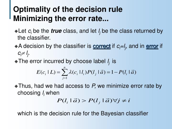 Optimality of the decision rule