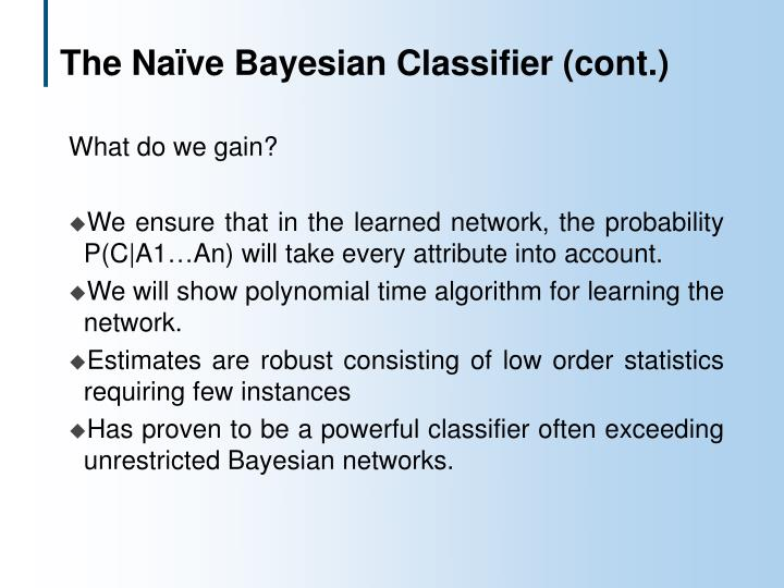 The Naïve Bayesian Classifier (cont.)