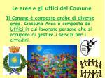 le aree e gli uffici del comune