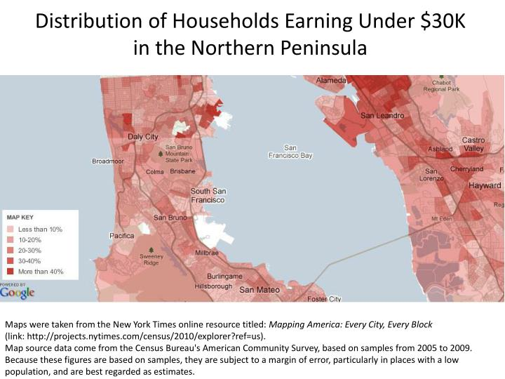 Distribution of Households Earning Under $30K in the Northern Peninsula