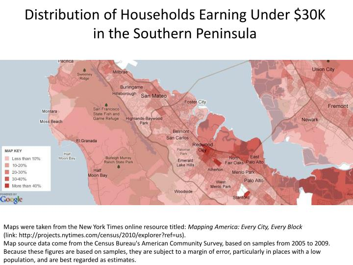 Distribution of Households Earning Under $30K in the Southern Peninsula
