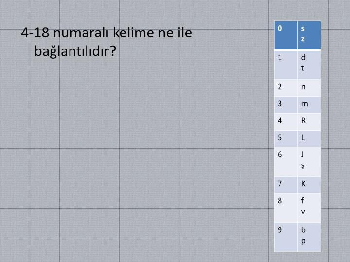 4-18 numaralı kelime ne ile bağlantılıdır?