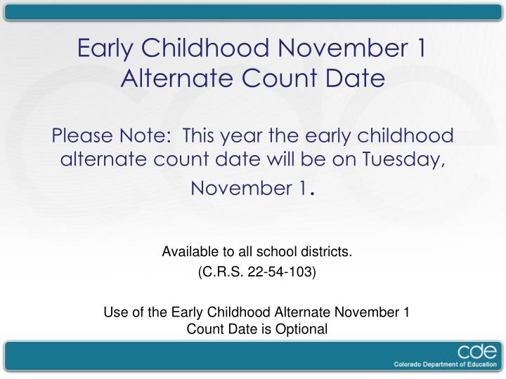 Early Childhood November 1