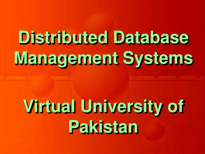 Distributed database management systems1
