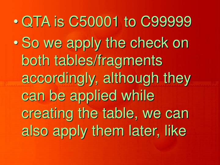 QTA is C50001 to C99999