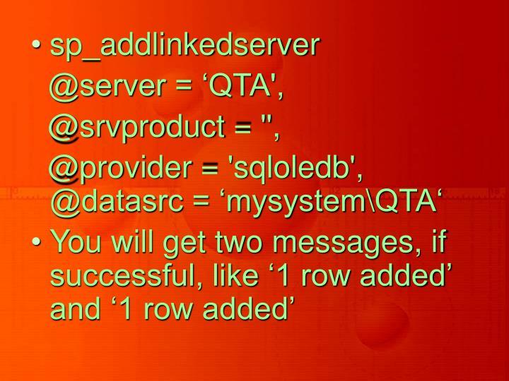 sp_addlinkedserver