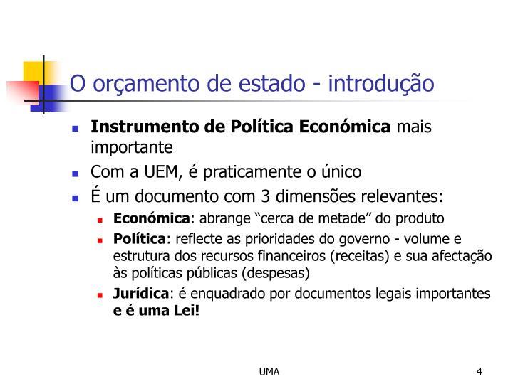 O orçamento de estado - introdução
