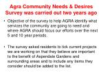 agra community needs desires survey was carried out two years ago