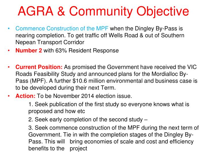 AGRA & Community Objective
