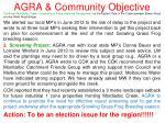 agra community objective9