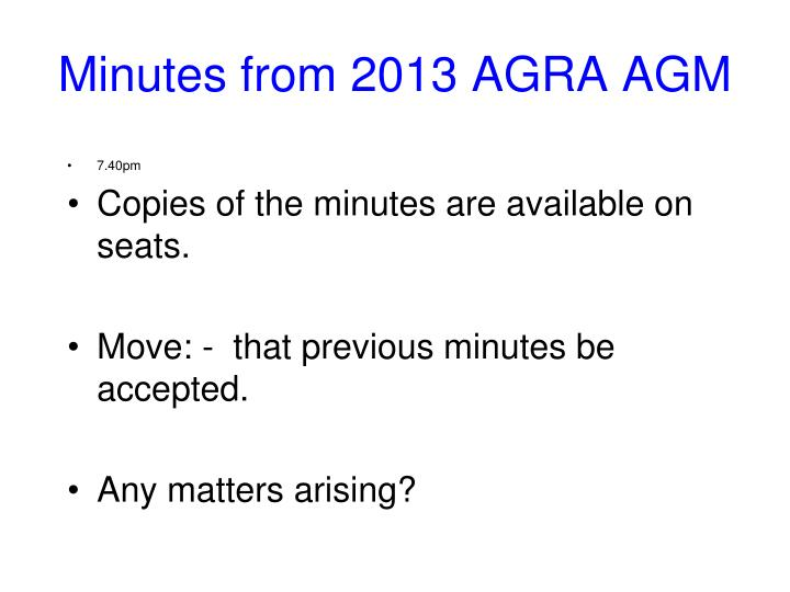 Minutes from 2013 AGRA AGM