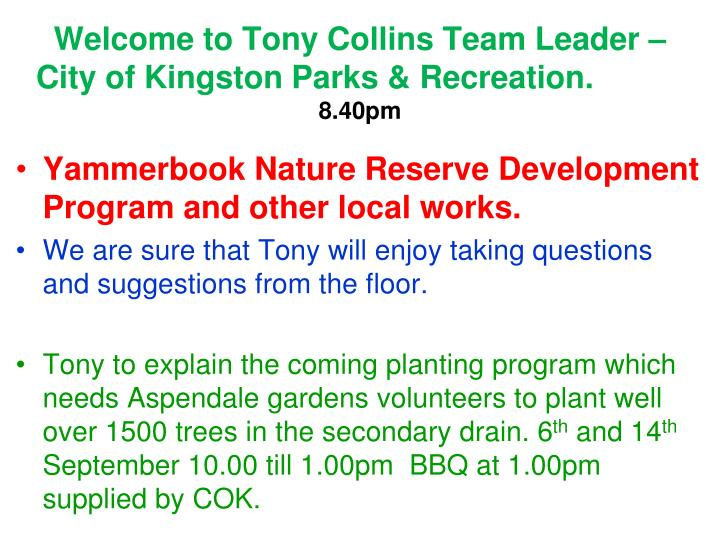 Welcome to Tony Collins Team Leader – City of Kingston Parks & Recreation.