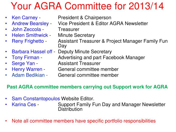 Your AGRA Committee for 2013/14