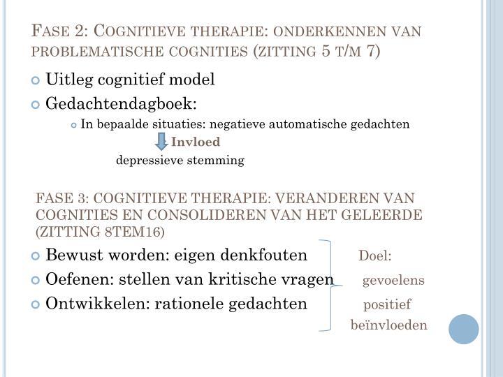 Fase 2: Cognitieve therapie: onderkennen van problematische cognities (zitting 5 t/m 7)