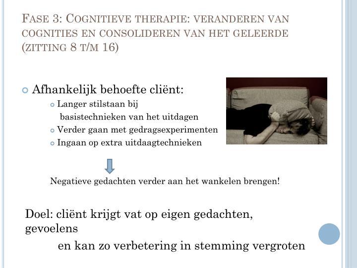 Fase 3: Cognitieve therapie: veranderen van cognities en consolideren van het geleerde (zitting 8 t/m 16)