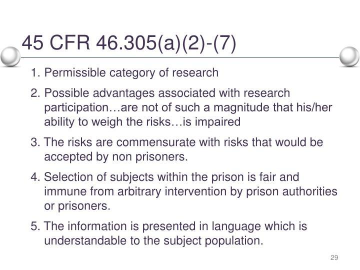 45 CFR 46.305(a)(2)-(7