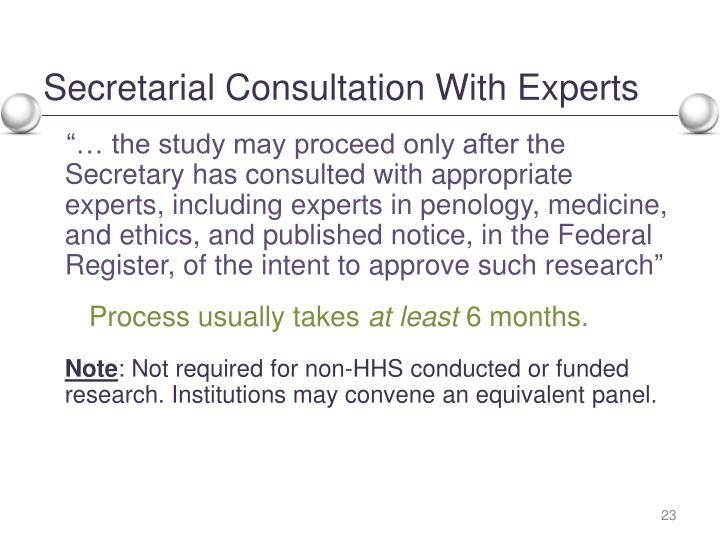 Secretarial Consultation With Experts
