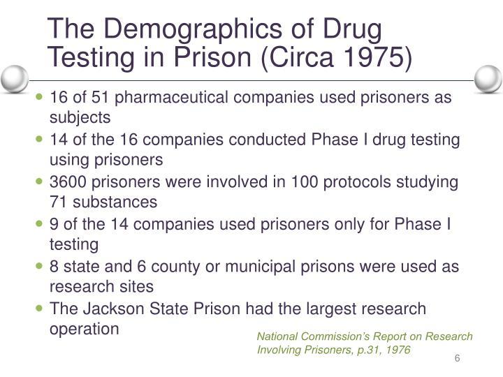 The Demographics of Drug Testing in Prison (Circa 1975)