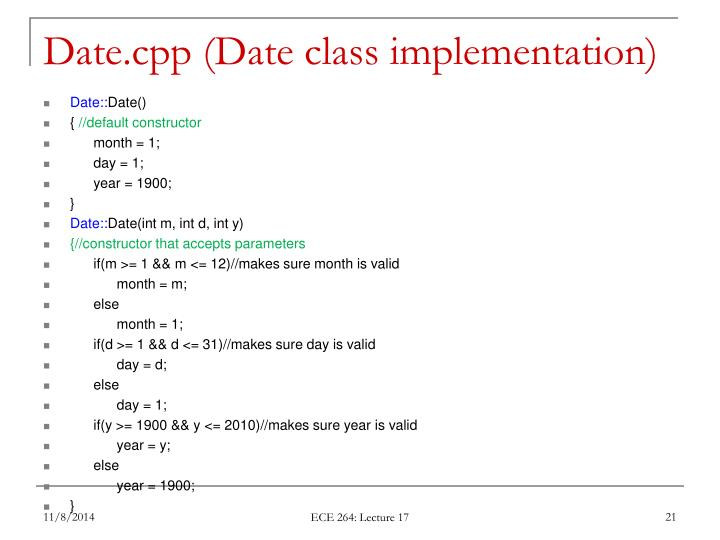 Date.cpp (Date class implementation)