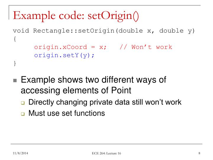 Example code: setOrigin()